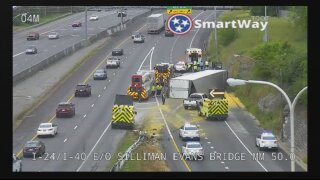 Semi hauling 43,000 pounds of 'dry pasta' overturns on Nashville interstate