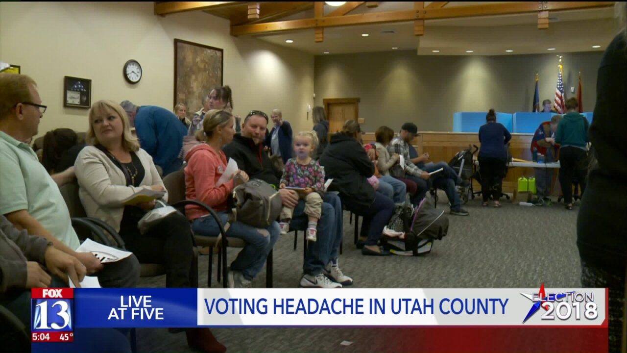 What caused the long lines to vote in UtahCounty?