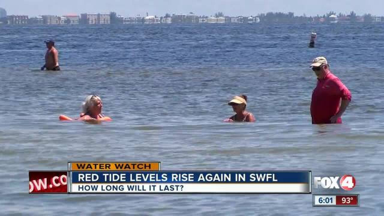 High samples of red tide in Lee and Charlotte Co