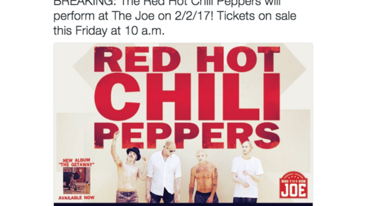 Red Hot Chili Peppers to perform at The Joe