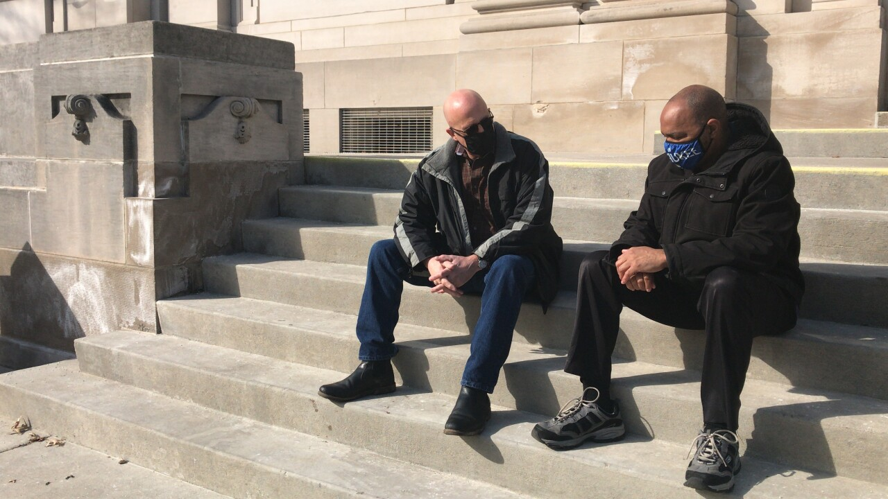 Greg Pittman and Tracey Dent on Sauk County Courthouse steps