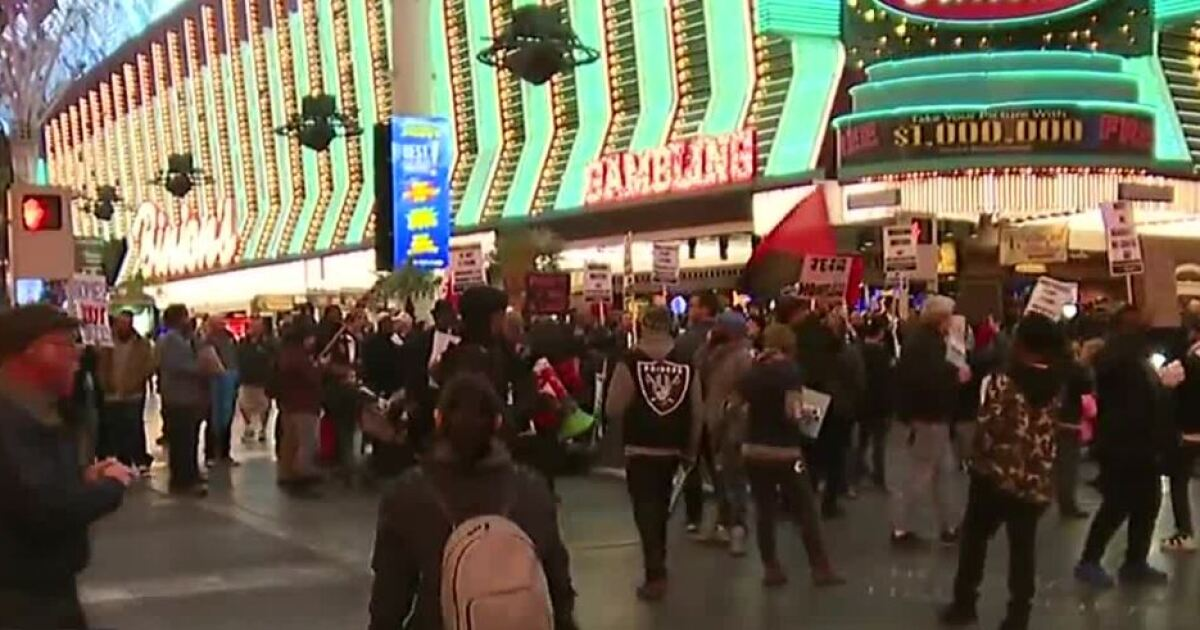 'Occupy Fremont' protest blocking streets in downtown Las Vegas