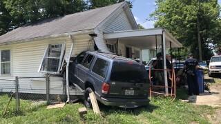 Car crashes into house in Lexington