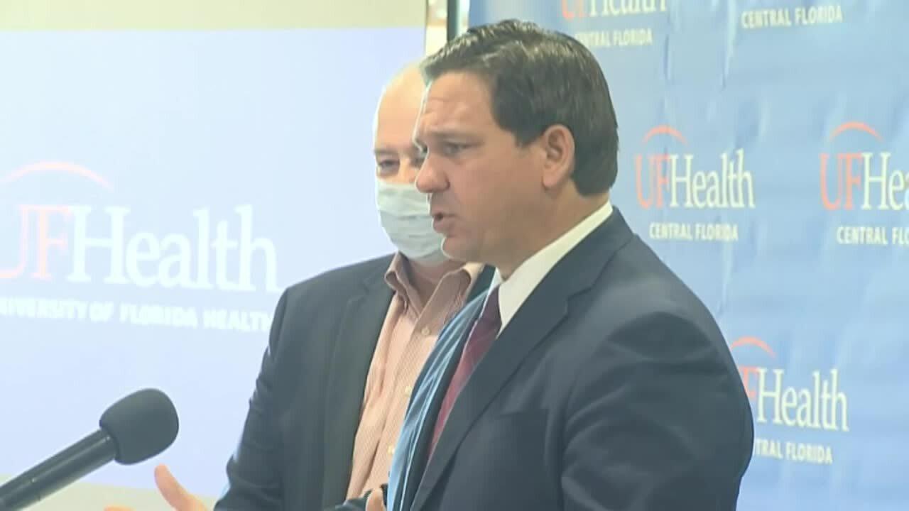 Gov. Ron DeSantis speaks at UF Health The Villages Hospital, Dec. 22, 2020