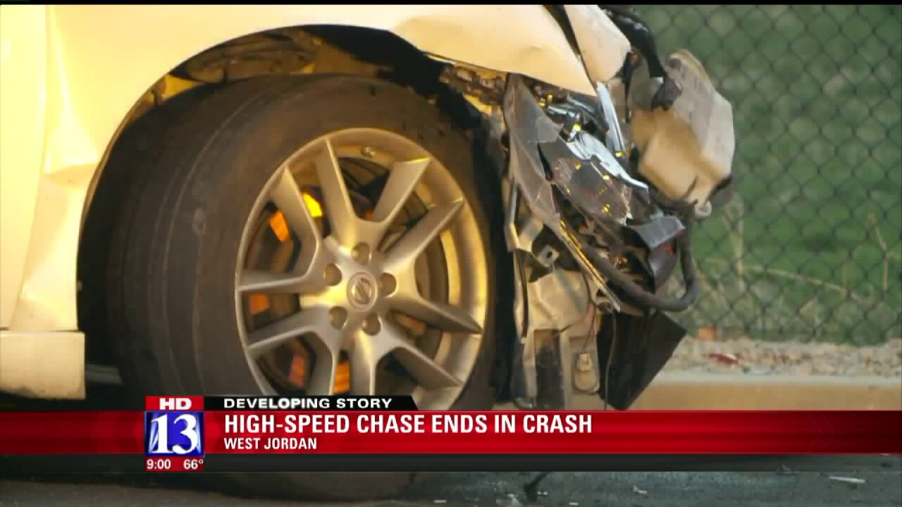 Two suspects taken into custody after West Jordan chase ends incrash