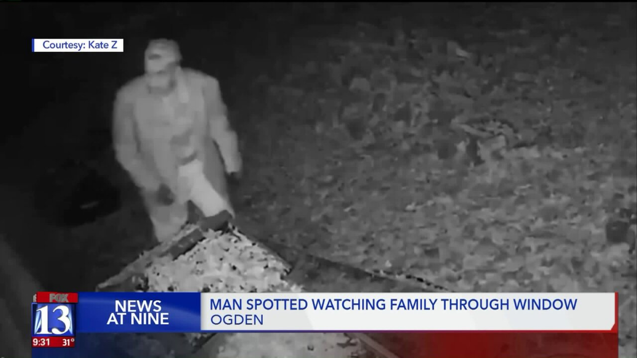 Video captures man 'peeping' through windows of an Ogden family home on ChristmasEve