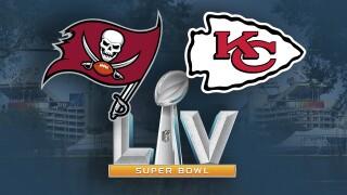 Tampa Bay Buccaneers vs. Kansas City Chiefs in Super Bowl LV at Raymond James Stadium graphic