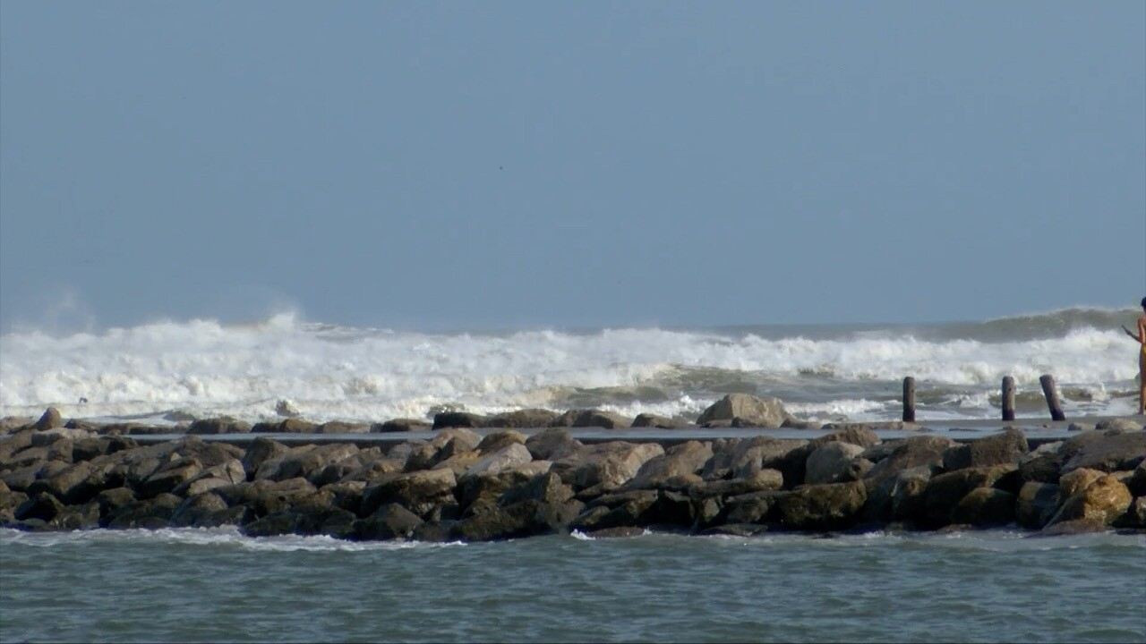 Packery Channel jetty waves