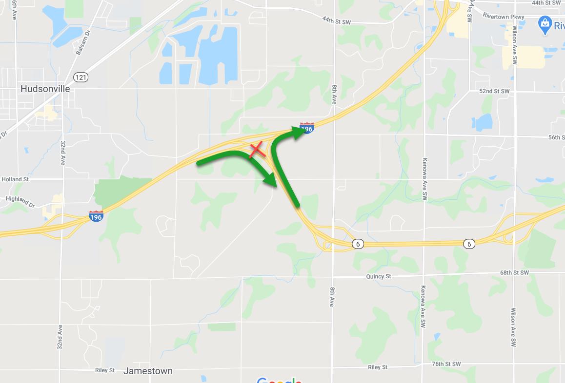 Map I-196 M-6 interchange changes.png