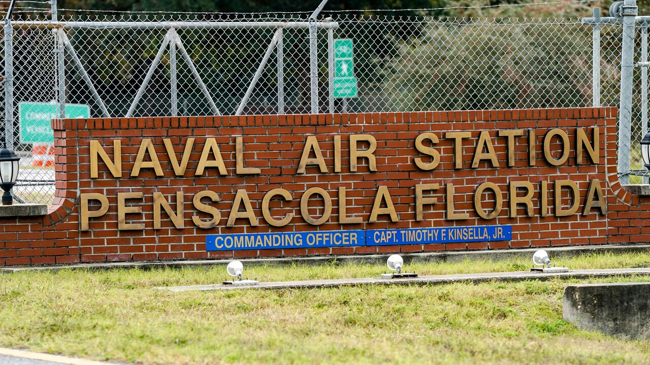 A general view of the atmosphere at the Pensacola Naval Air Station following a shooting on December 06, 2019 in Pensacola, Florida. The second shooting on a U.S. Naval Base in a week has left three dead plus the suspect and seven people wounded.