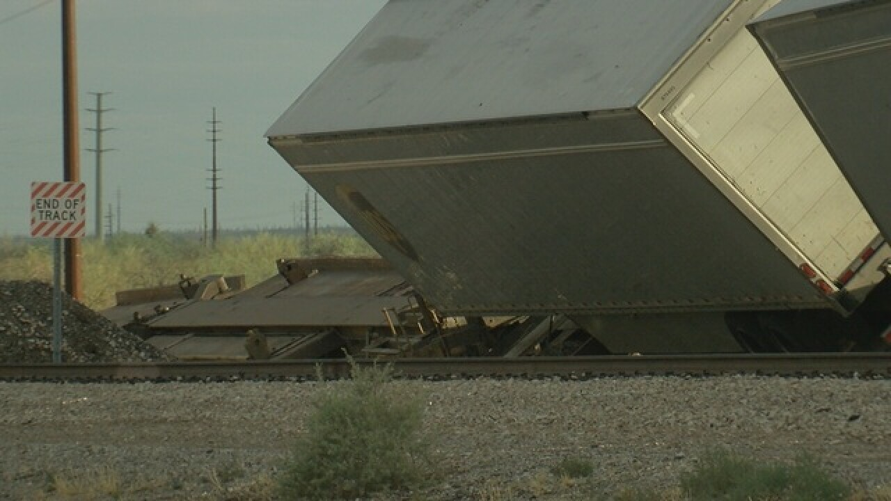 Frontage road closed due to train derailment