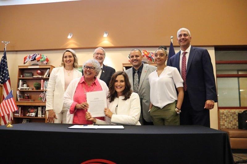 Governor Whitmer signing historic K-12 funding bill