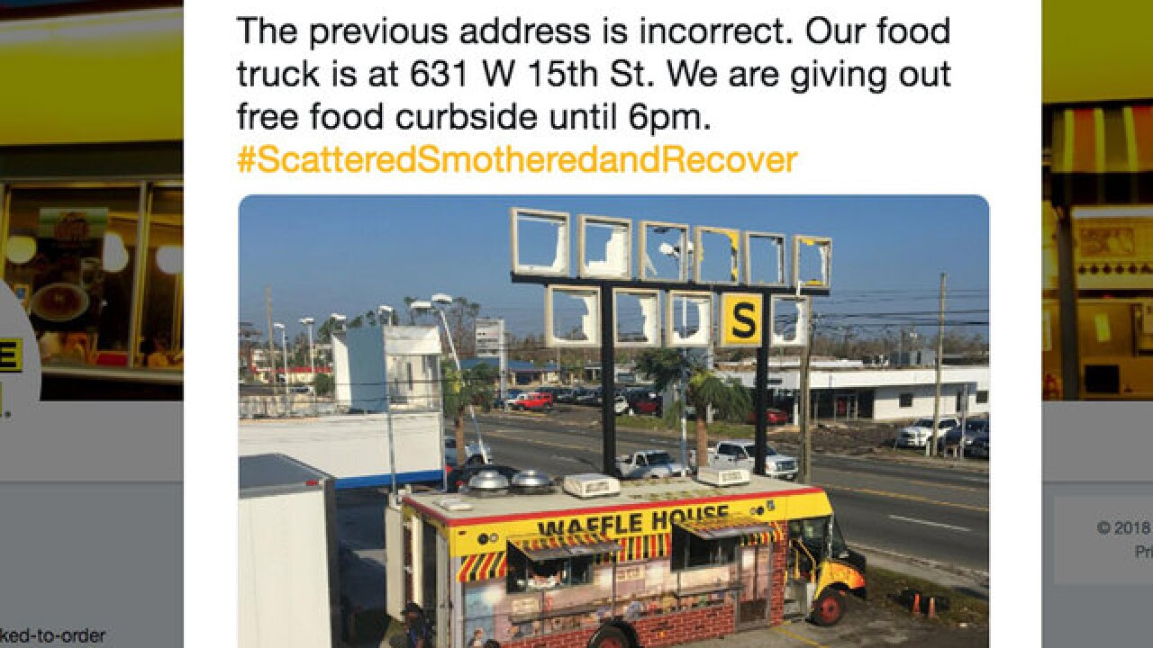 Damaged Waffle House opens food truck after Hurricane Michael