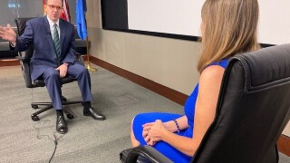 PHOTO: Mayor Bynum talks to 2 News Oklahoma