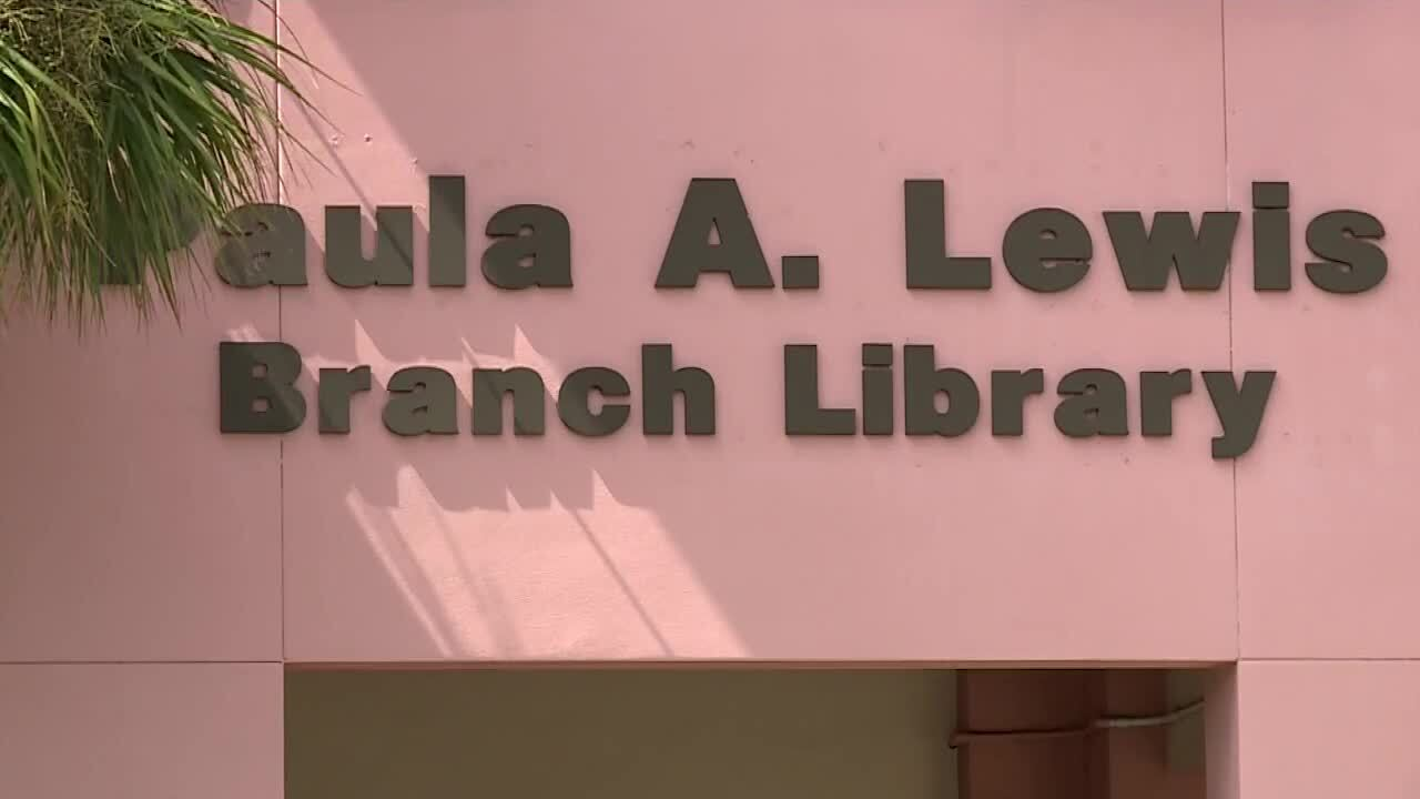 Paula A. Lewis Branch Library sign in Port St. Lucie