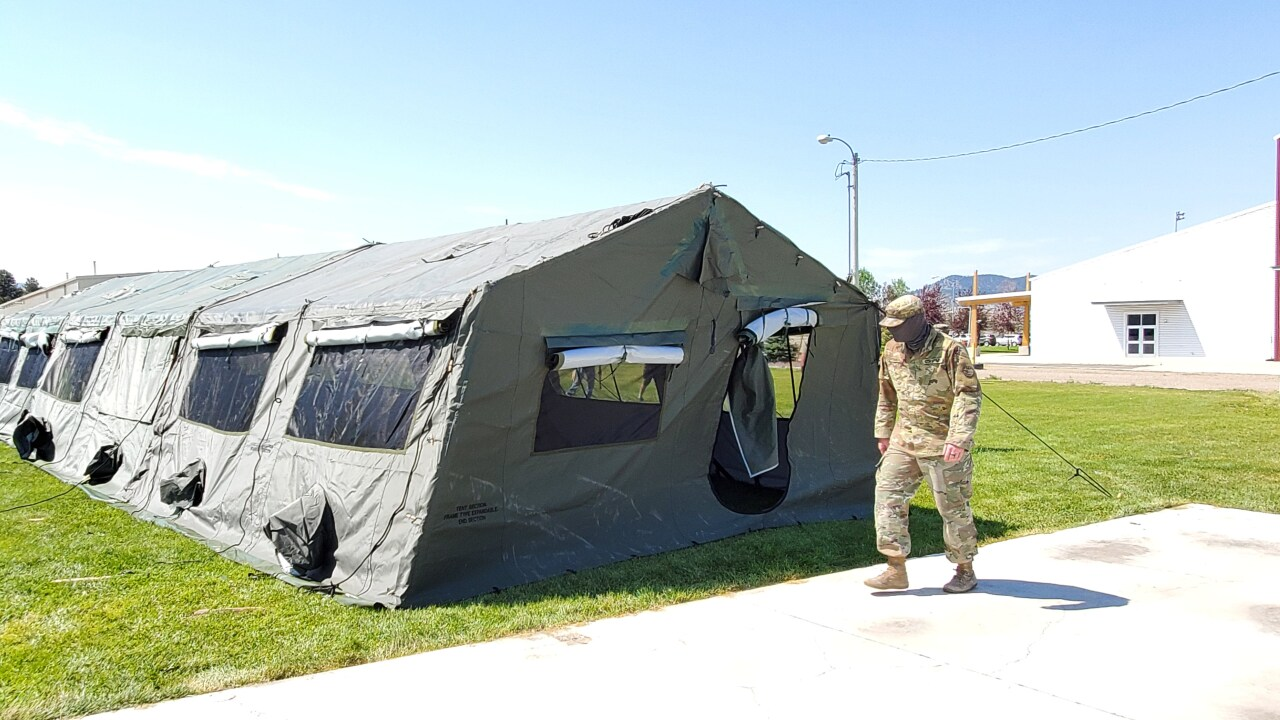 Montana National Guard help set up tents