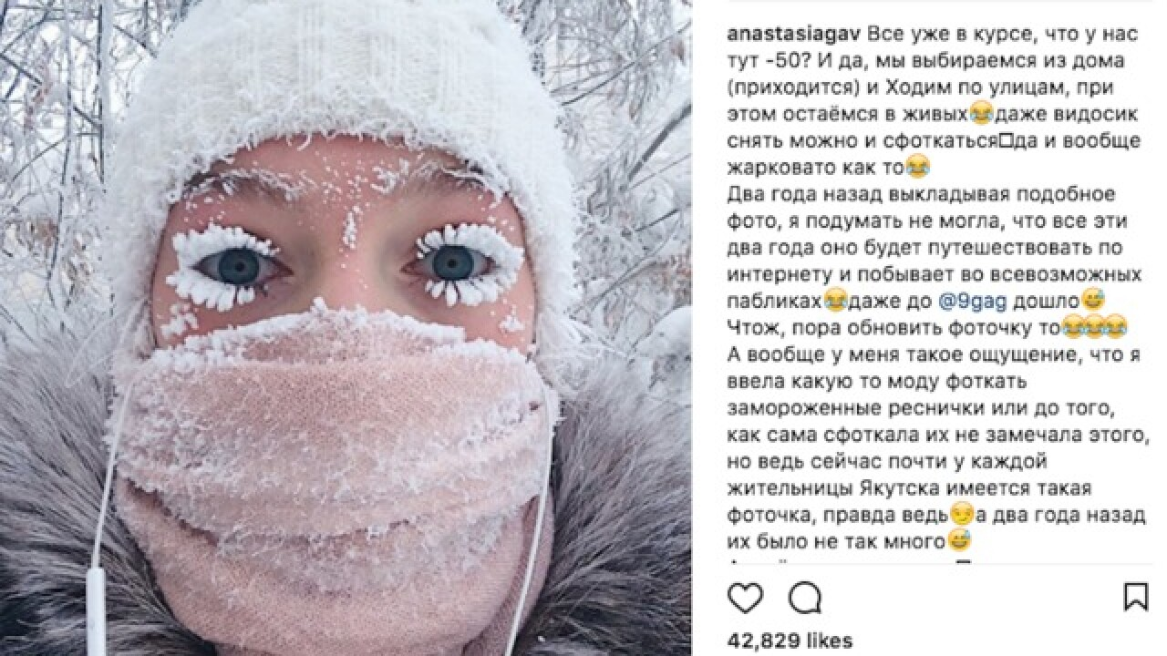 Temperatures drop to -65 degrees in Siberia, causing people's eyelashes to freeze