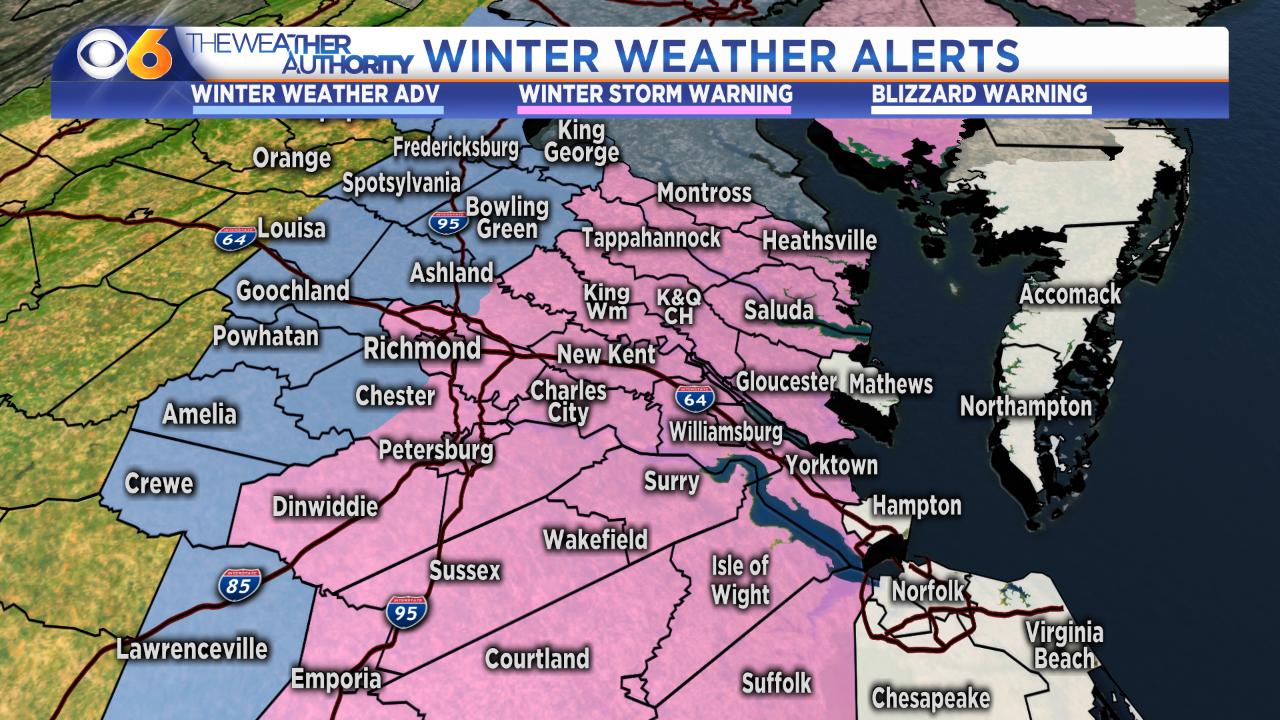 Winter storm warning for Richmondmetro