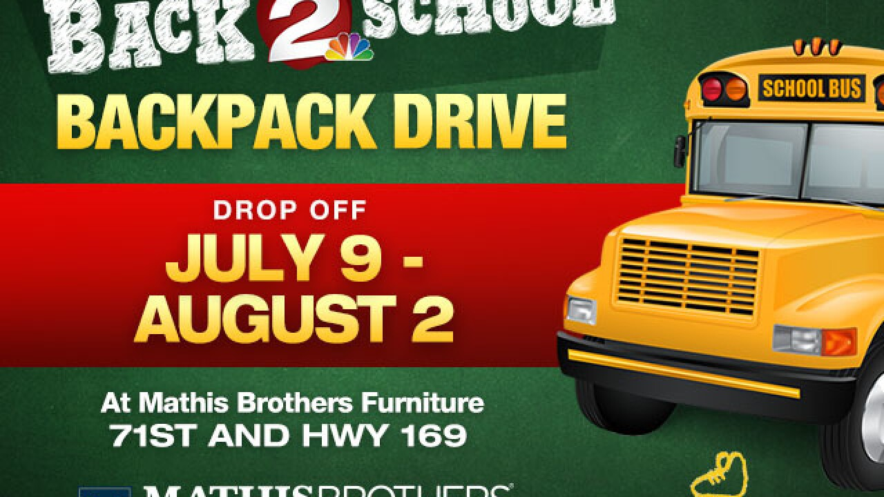 2 Works for You hosts backpack drive at Mathis Brothers Furniture for Tulsa-area schools