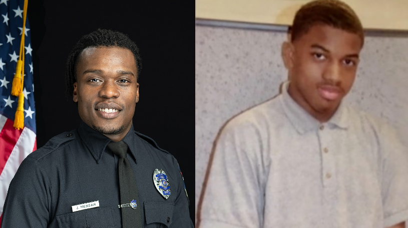 Wauwatosa Officer Joseph Mensah and Alvin Cole