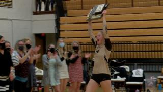 Capital senior Paige Bartsch celebrates her third State AA Championship