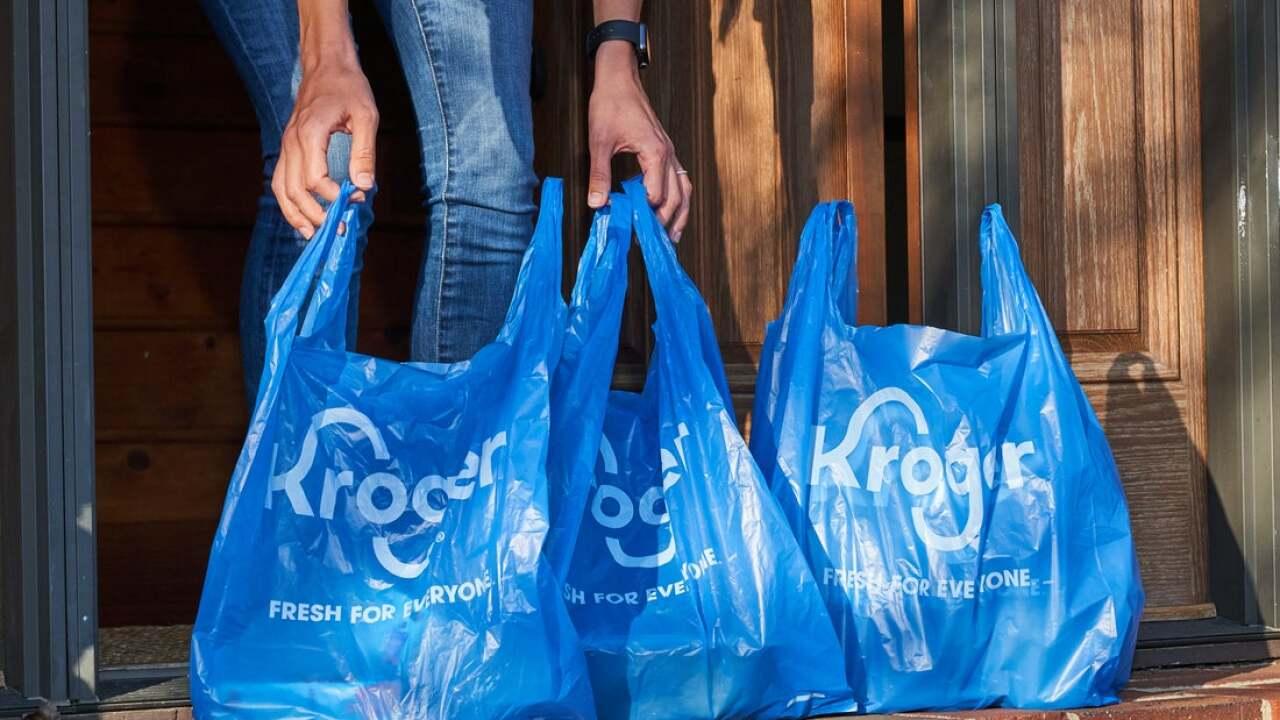 Kroger grocery bags delivered on doorstep