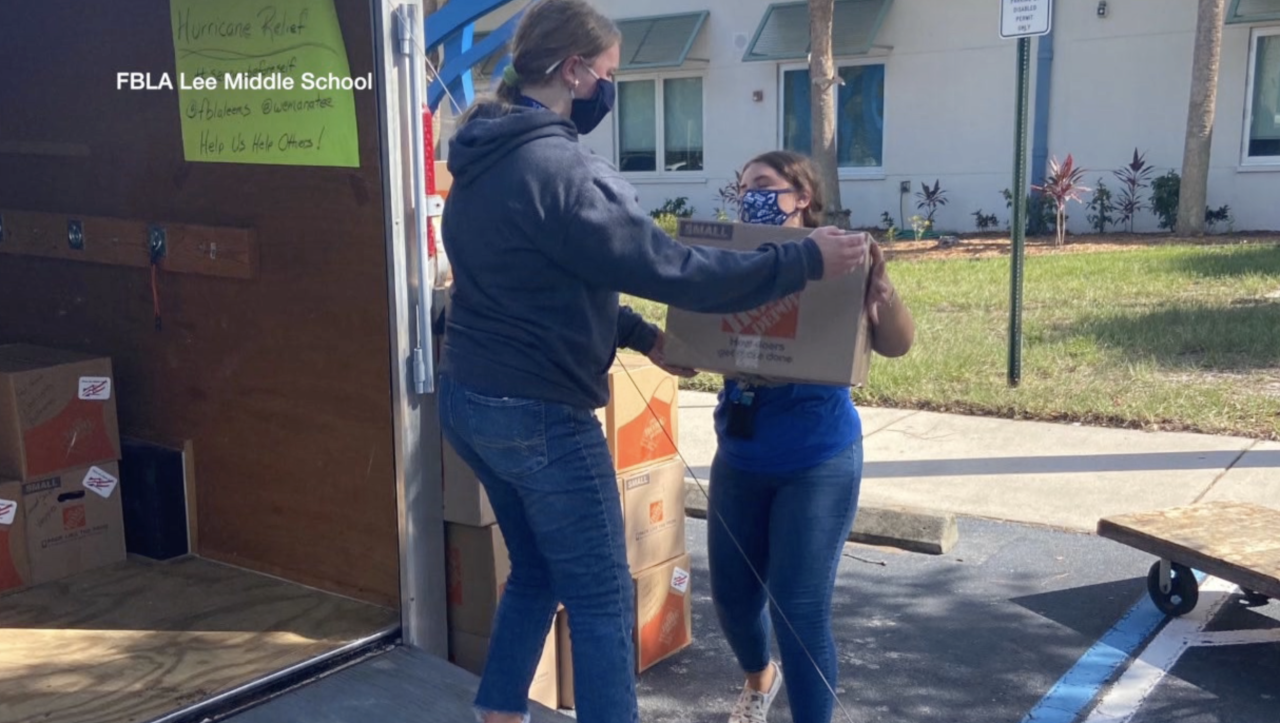 Manatee County middle school delivers hurricane relief supplies to Pensacola