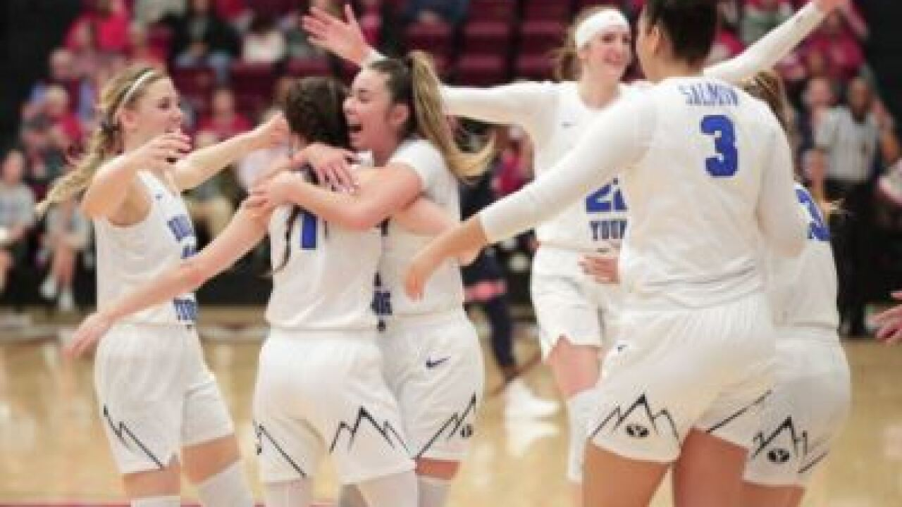 The BYU women's basketball team beats Auburn to advance in the NCAA Tournament