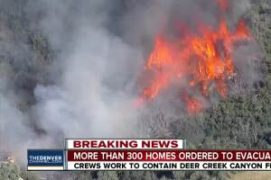 Crews battling wildfire near Deer Creek Canyon Park in Jefferson County