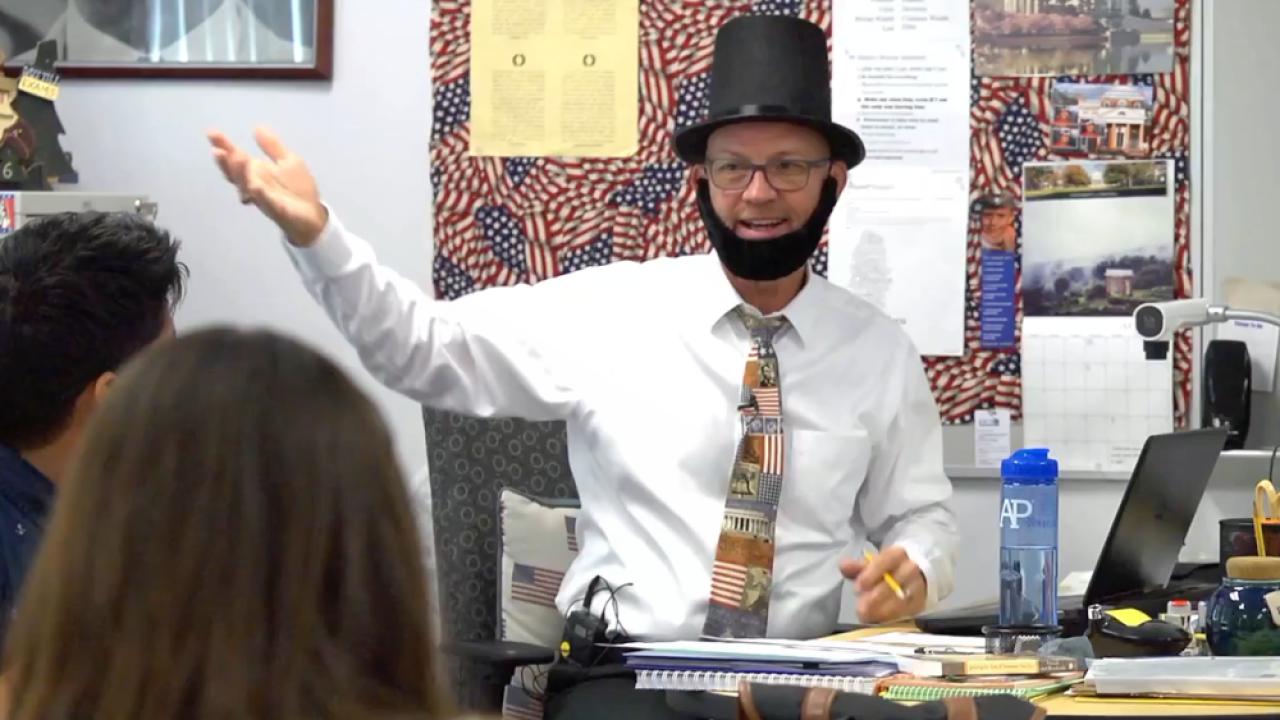 Mike Klapka history teacher Abe Lincoln
