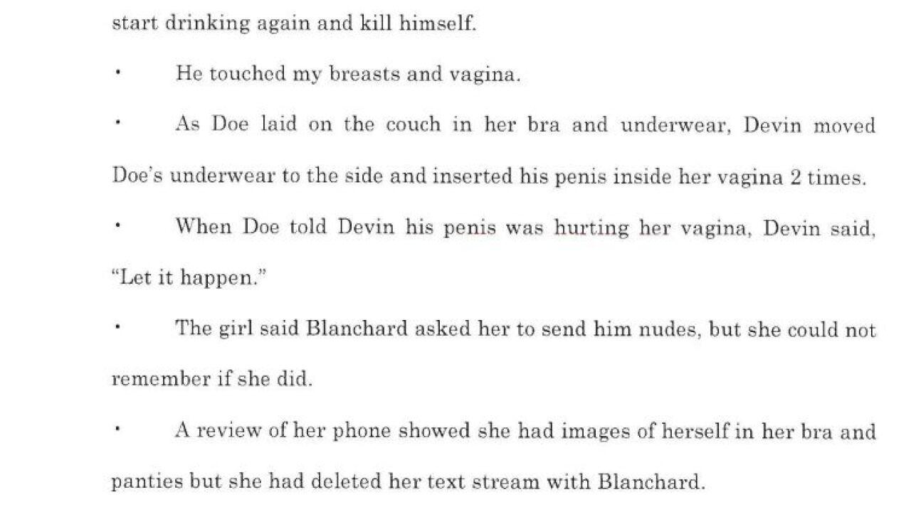 Devin Blanchard court document