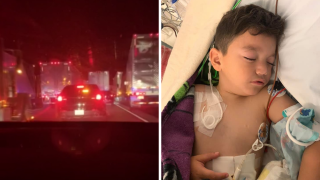 Child Escorted Through Saddleridge Fire