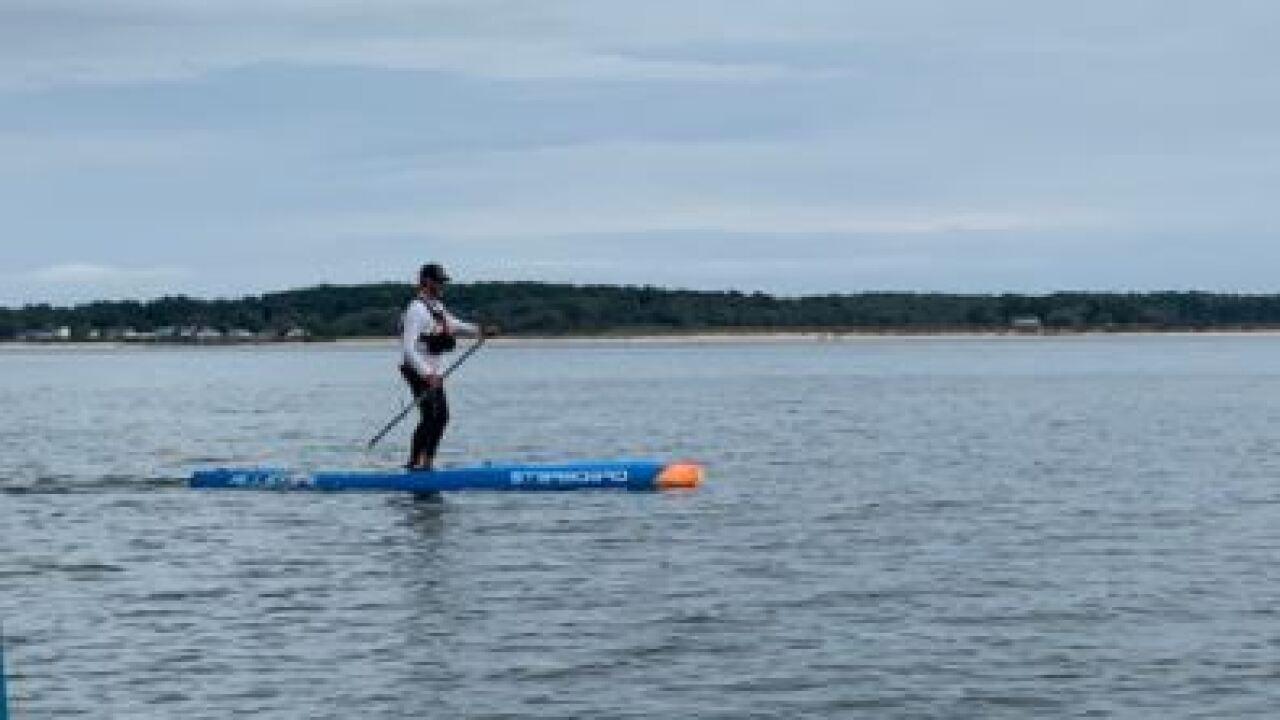 Chris Hopkinson paddleboards the Chesapeake Bay