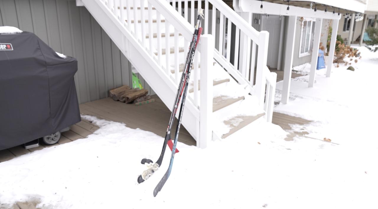 Hockey sticks, Lake Geneva in DeWitt, Mich.