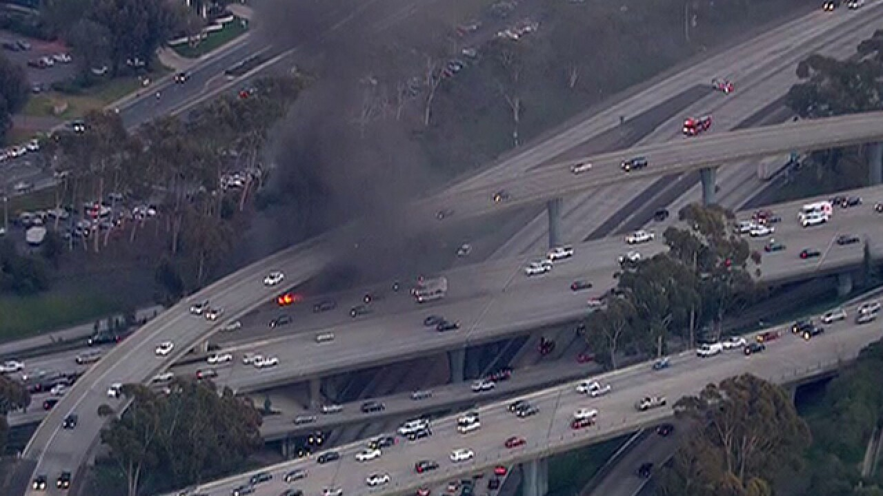 Truch crashes off I-805, bursts into flames