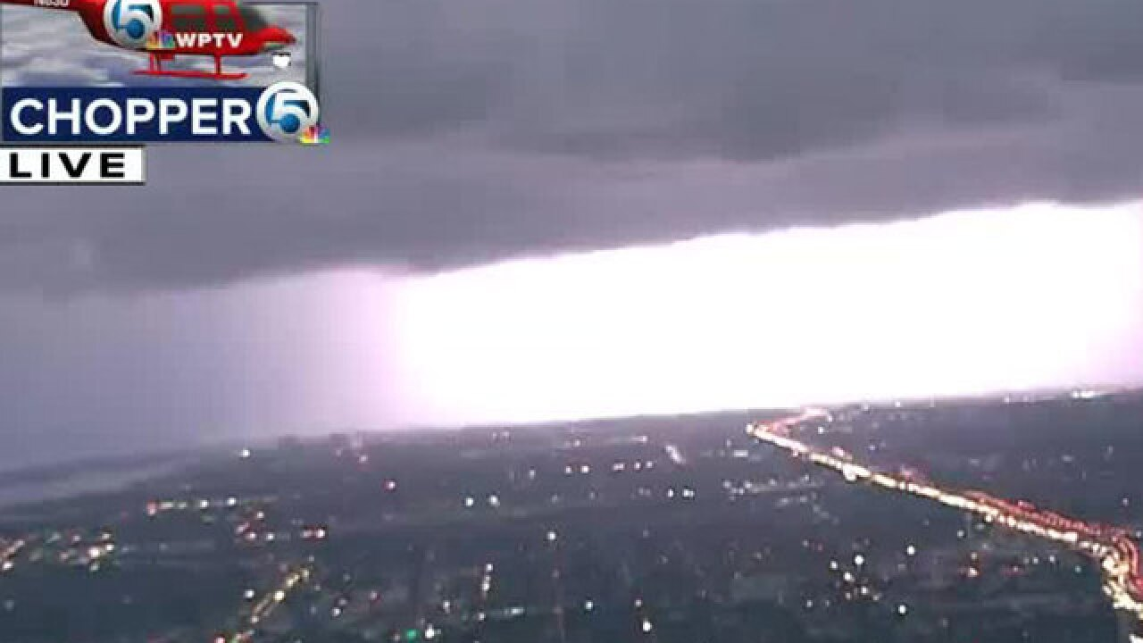 VIDEO: Chopper 5 gets up close look at lightning in southern Palm Beach County
