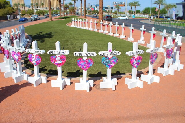 PHOTOS: New crosses at famous sign in remembrance of 1 October victims