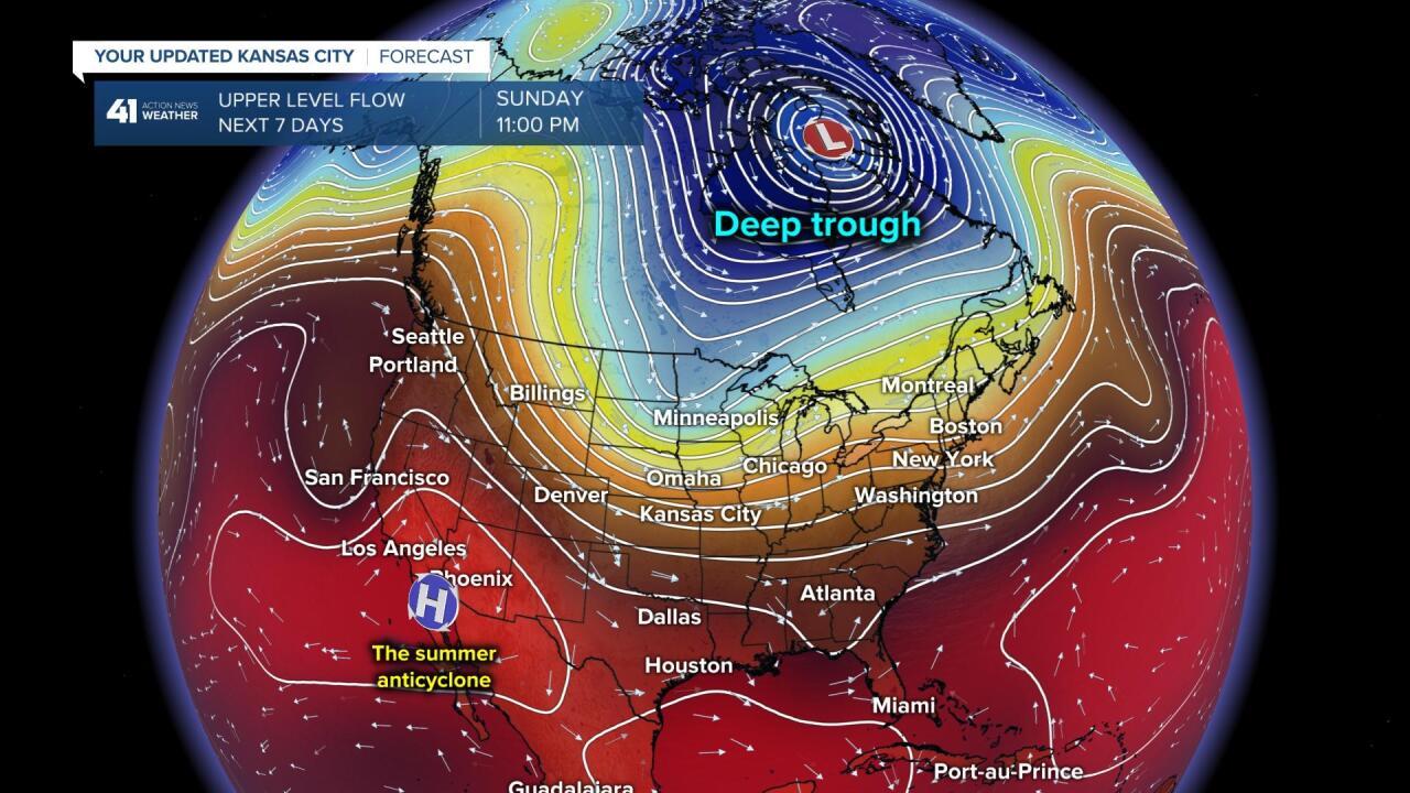 Upper Level Flow Forecast Sunday
