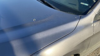 A bullet hit the hood of a Nashville man's car while he was driving on I-65 in Nashville.  (Emily Luxen / WTVF)