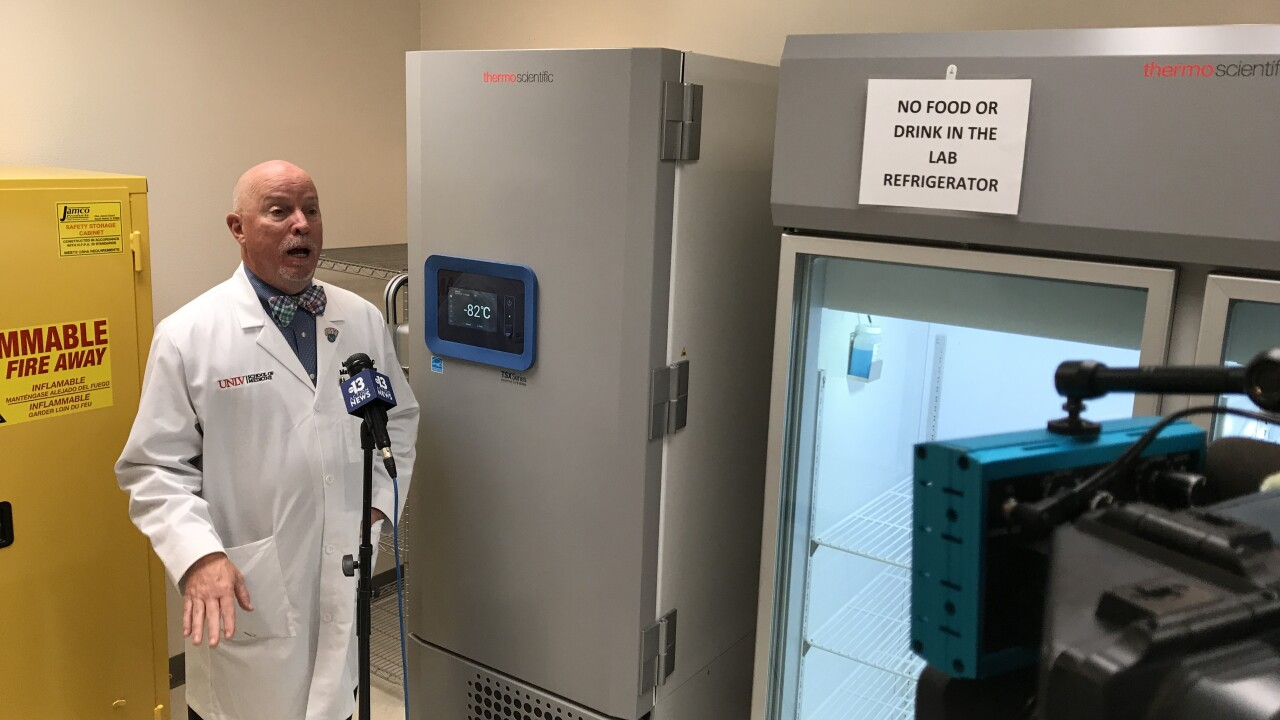 These are photos of two specialized, medical grade chillers, one of which is capable of -80°C and will be used to store and help distribute COVID-19 vaccines at the University of Nevada Las Vegas.