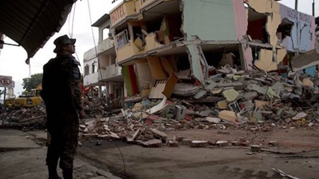 Rescuers look for survivors from Ecuador quake