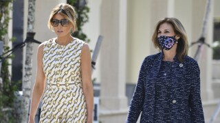 Melania Trump walks with Wendy Sartory Link after voting in Palm Beach, Nov. 3, 2020