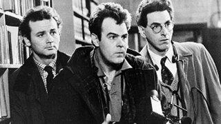 Bill Murray, Dan Aykroyd and Harold Ramis in 'Ghostbusters' black and white