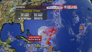 Tropical Storm Karen forecast to make potential turn toward Florida
