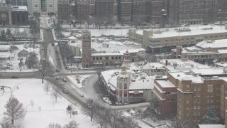 snow on the plaza