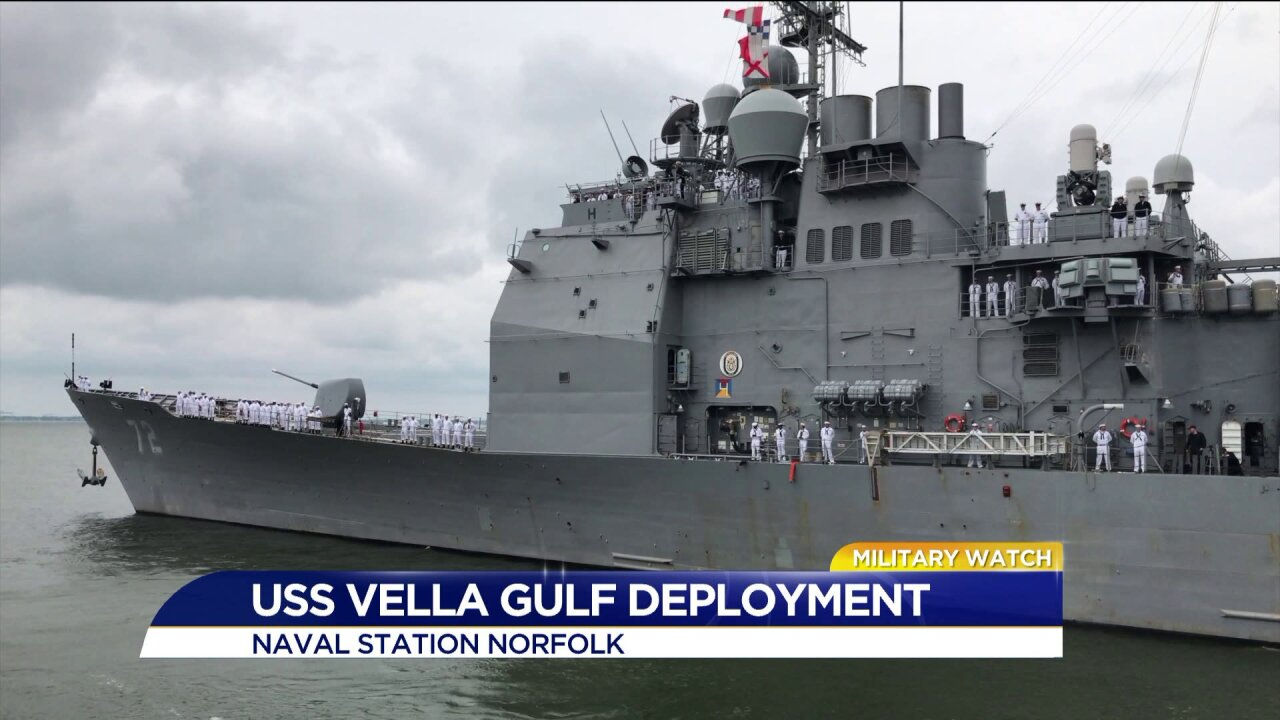 350 sailors on USS Vella Gulf deploy out of Naval StationNorfolk