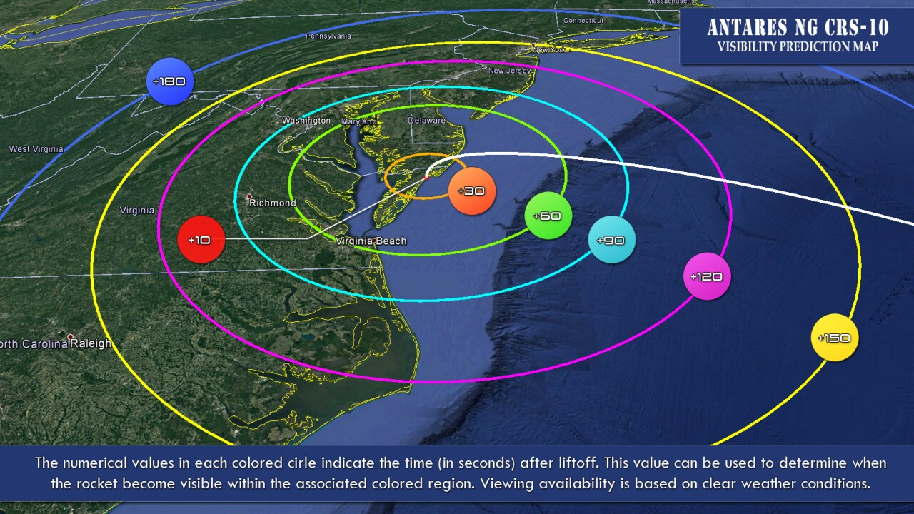 Rocket launch from Wallops Flight Facility to be visible up and down the East Coast