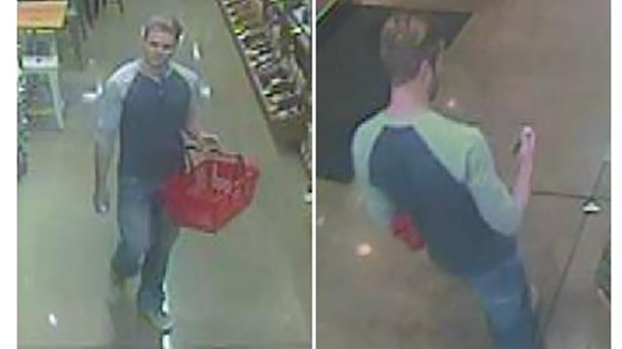 Man wanted for putting substance on grocery cart