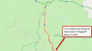 Northbound lanes of I-17 near Sedona shut down for several hours due to 15-vehicle pileup