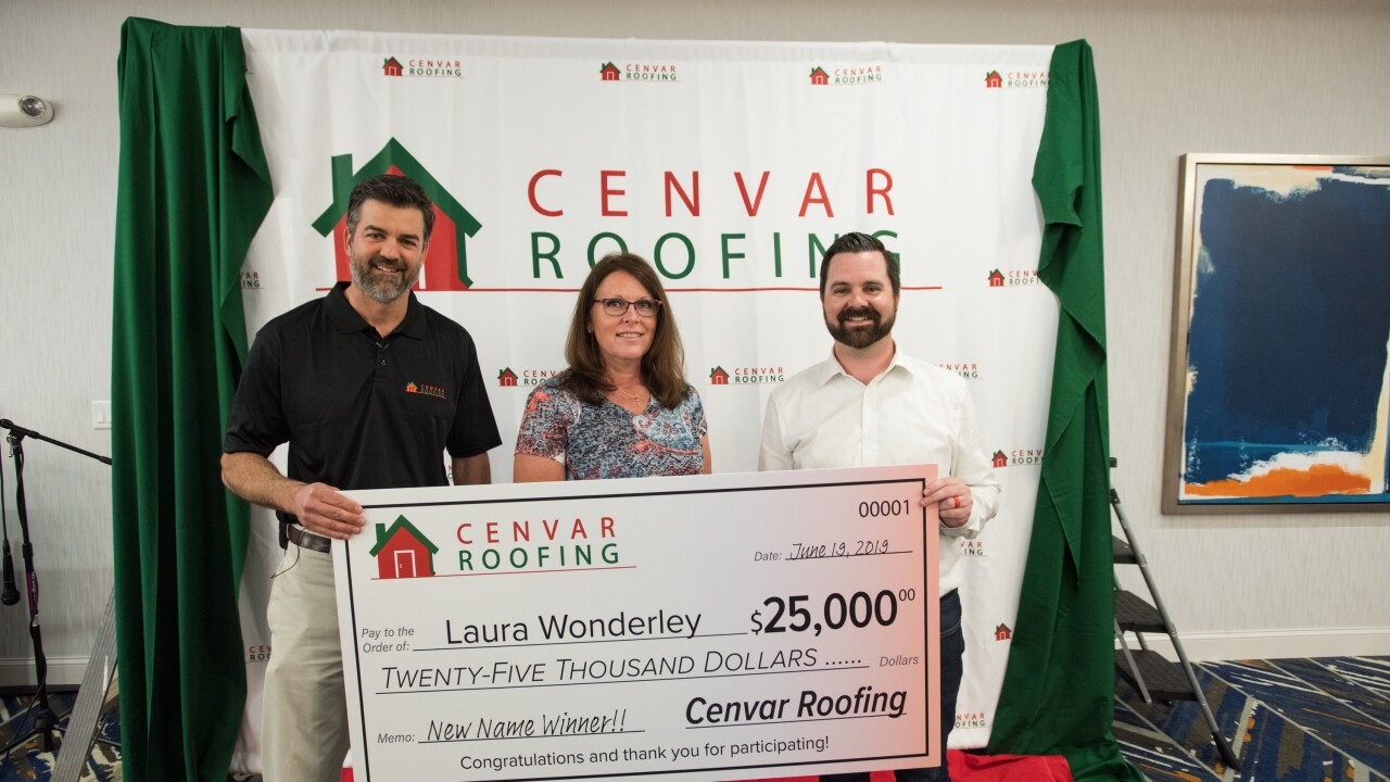 Woman wins $25,000 for coming up with new name for Virginia roofingcompany